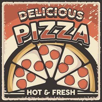 Pôster retrô vintage de pizza