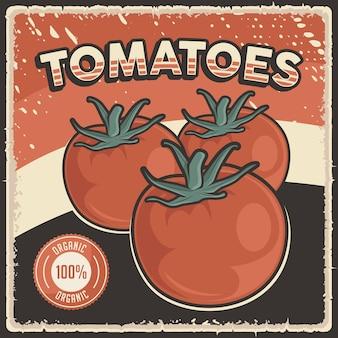 Pôster retro vintage de tomates com vegetais