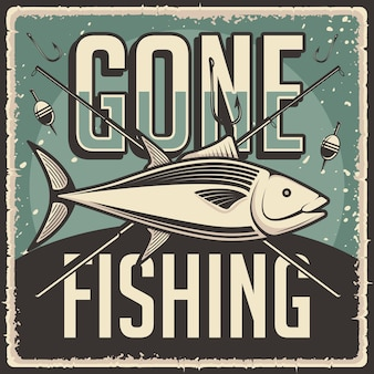 Pôster retro vintage que foi pescar