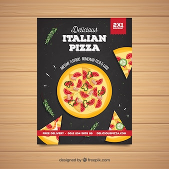 Poster saboroso da pizza italiana