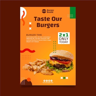 Pôster vertical de comida americana com hambúrguer