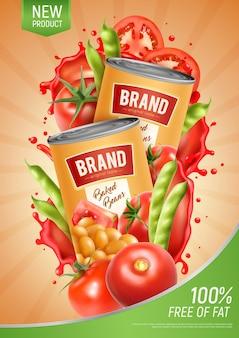 Pôster vertical realista com duas latas de feijão cozido natural e tomate