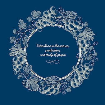 Poster vintage azul natural abstrato com inscrição em moldura redonda e cachos de uvas no estilo de desenho