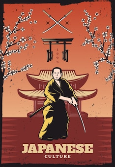 Pôster vintage colorido da cultura japonesa com samurai segurando uma espada sakura galhos de árvore portões tradicionais e construção
