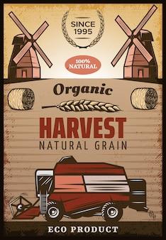 Pôster vintage colorido de colheita agrícola com inscrições fardos de feno moinhos de vento de orelha de trigo colheitadeira