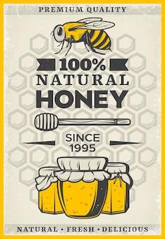 Pôster vintage colorido de mel orgânico com inscrição abelha dipper stick potes e favos de mel