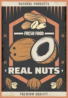Pôster vintage colorido de nozes frescas naturais com a inscrição coco, amendoim, amêndoa e avelã