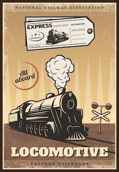 Pôster vintage colorido retro trem industrial