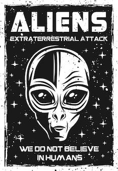 Pôster vintage com cabeça de alienígena