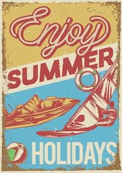 Poster vintage com ilustração de um barco à vela