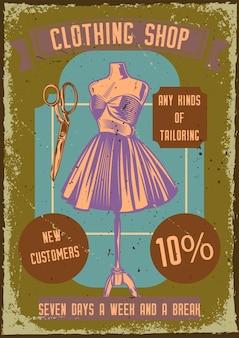 Poster vintage com ilustração de um manequim com vestido e tesoura