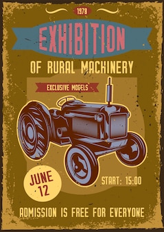 Poster vintage com ilustração de um trator