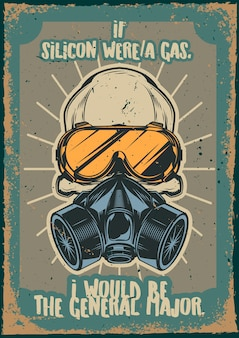 Poster vintage com ilustração de uma caveira com respirador e óculos