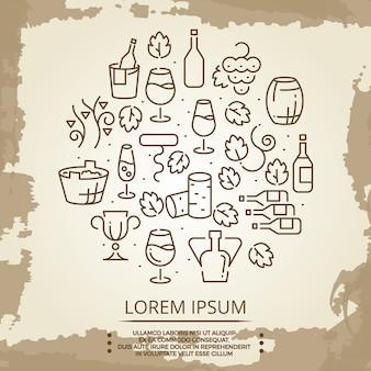Poster vintage com logotipo de bebidas vinho em fundo vintage