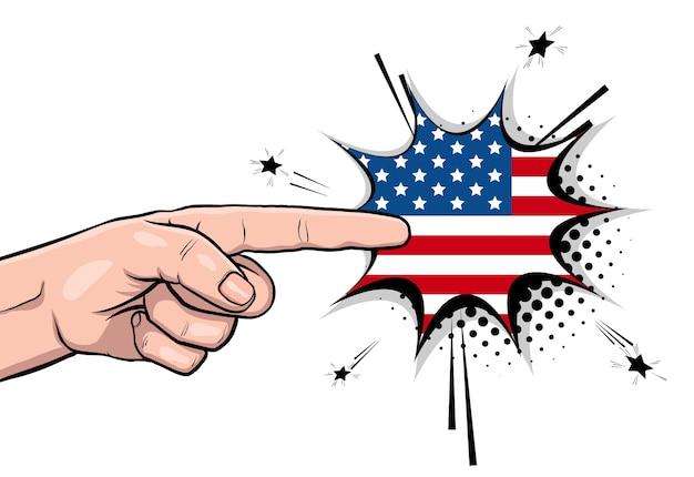 Pôster vintage com o tio sam mostra a mão e pede voto 2020 na bandeira dos eua