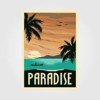 Poster vintage da praia do paraíso tropical