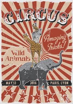 Pôster vintage de circo com animais desenhados à mão, como elefante e girafa