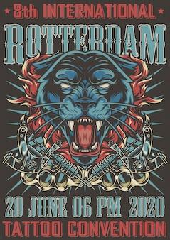Poster vintage de convenção de tatuagem colorida