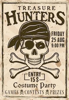 Pôster vintage de festa à fantasia de piratas com ilustração de caçadores de tesouro