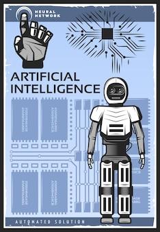 Pôster vintage de inteligência artificial