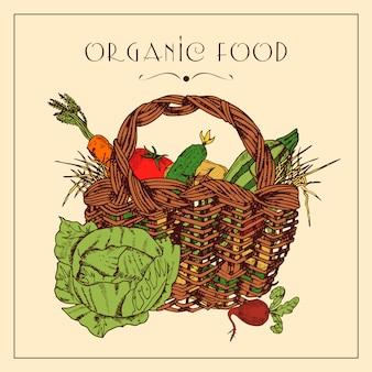 Poster vintage de pictograma cesta de colheita