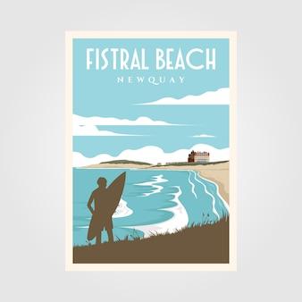 Pôster vintage de surf na praia de fistral