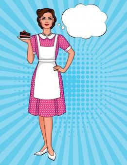 Poster vintage de uma dona de casa feliz
