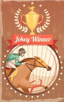 Poster vintage de vencedor de jóquei com a taça de campeão e piloto na ilustração em vetor plana galopando cavalo design elementos