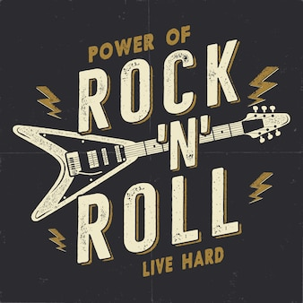 Pôster vintage desenhado à mão de rock n roll