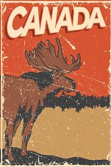 Poster vintage do canadá com alce