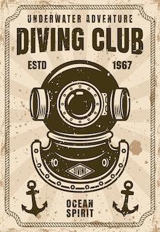 Poster vintage do clube de mergulho com ilustração vetorial de capacete de mergulhador