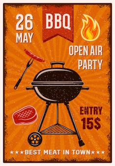 Poster vintage do partido do ar livre do bbq