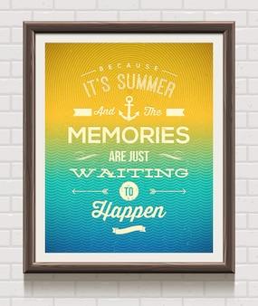 Poster vintage em moldura de madeira na parede de tijolos com citação de férias de verão