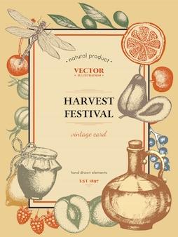 Poster vintage festival da colheita