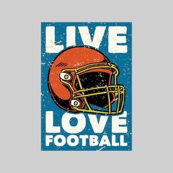 Poster vintage ilustração retro de futebol de amor ao vivo