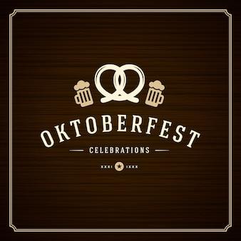 Poster vintage ou cartão de oktoberfest