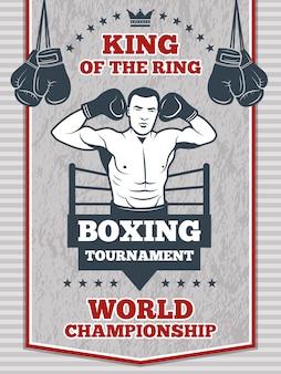 Poster vintage para o boxe ou clube de esporte. ilustração do centro de fitness