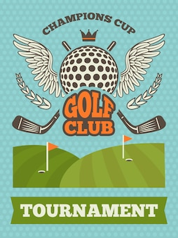 Poster vintage para o torneio de golfe.