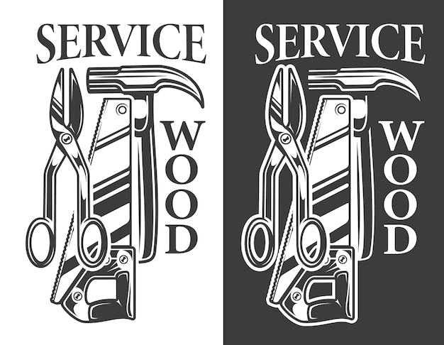 Poster vintage preto e branco sobre o tema serviço de carpintaria. vetor
