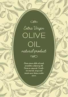Pôster vintage verde abstrato com texto em moldura oval e galhos de árvores de azeitonas