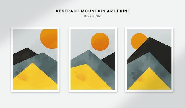 Posters abstratos, arte, formas geométricas, capas com estilo de papel de montanha