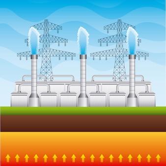 Postes de eletricidade e usina geotérmica