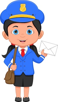 Postgirl posando e segurando um envelope
