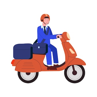 Postman delivery mail and packages usando motor scooter flat cartoon