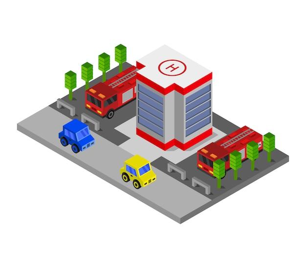 Posto de bombeiros isométrico