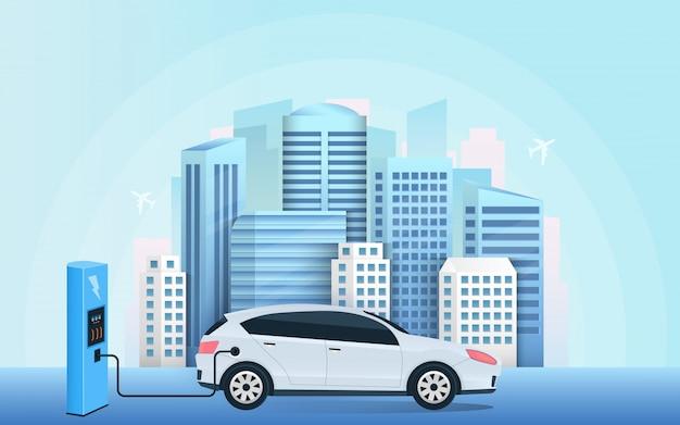 Posto de carregamento elétrico carro futuro, e-motion.