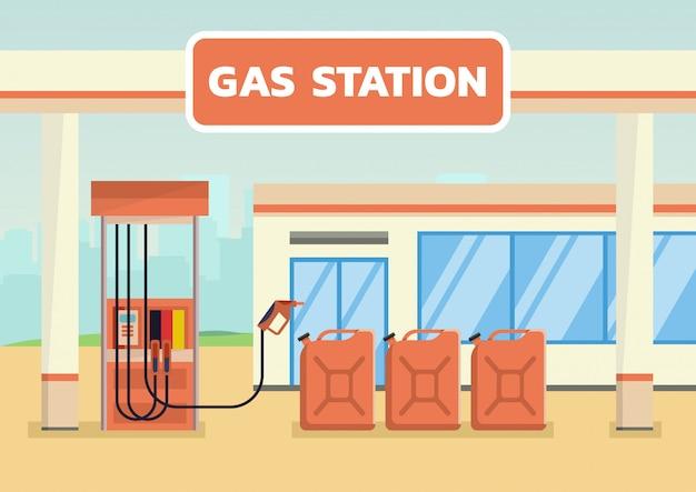 Posto de gasolina com latas de gasolina