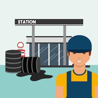 Posto de gasolina com trabalhador e indústria de derramamento de óleo