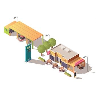 Posto de gasolina e café de estrada isométrico