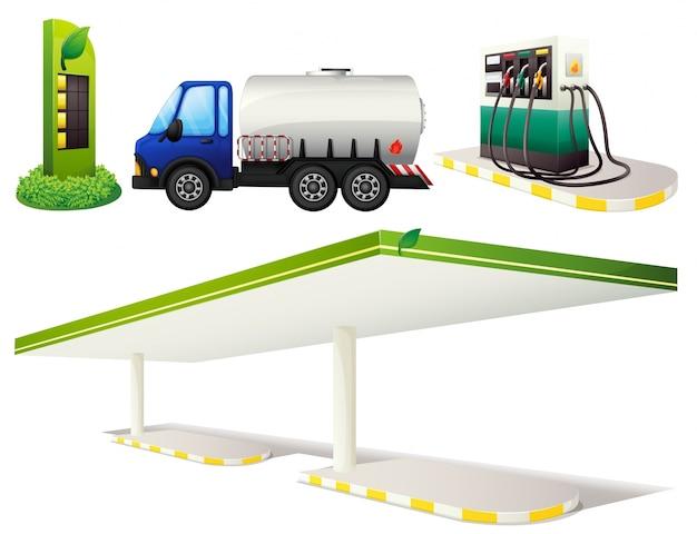 Posto de gasolina e caminhão de combustível